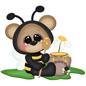 bee bear eating honey