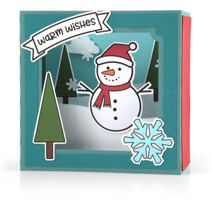 shadow box card scene - christmas snowman