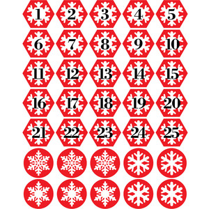 advent snowflake numbers planner stickers