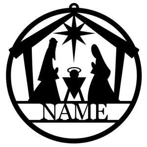 personalized tag ornament - nativity