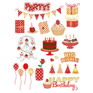 red & gold birthday planning stickers
