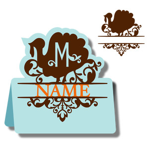 monogram place card & nameplate - turkey m