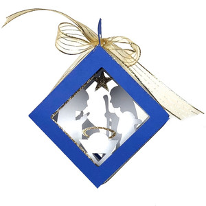 cubed shadow box nativity christmas ornament