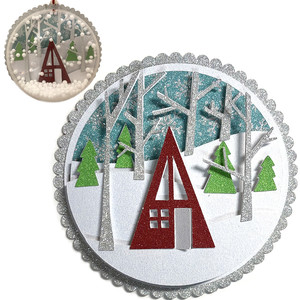 winter chalet scene ornament