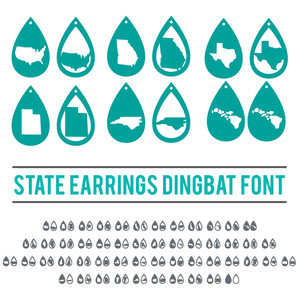 usa state earrings dingbat font