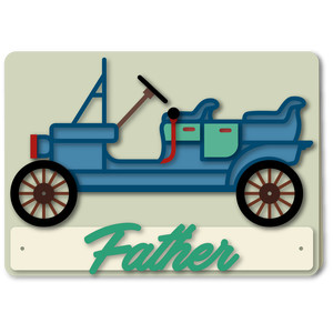car classic outline father 5x7 card