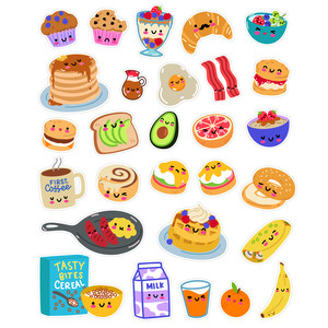 kawaii breakfast foods sticker set