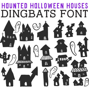 cg haunted halloween houses dingbats
