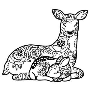mother deer and fawn floral mandala