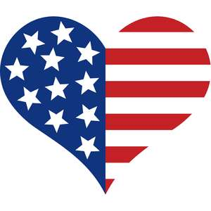 independence day heart flag