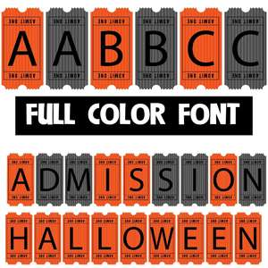 admission halloween color font