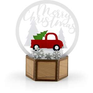 3d snow globe card red truck