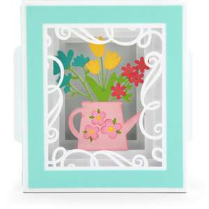 shadow box card spring flowers