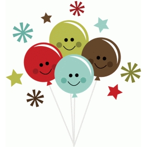 happy balloons with stars and flower bursts