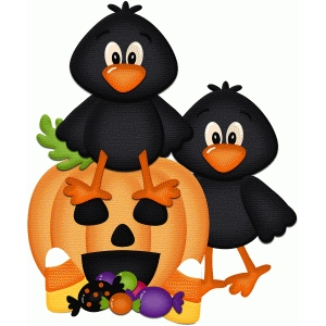 crows with jackolantern halloween