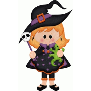 witch holding lizard halloween