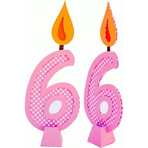 birthday candle number 6 with 3d base