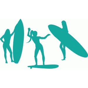 surfer girl silhouettes