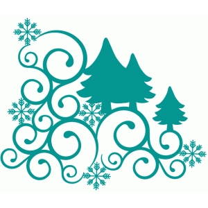 christmas tree swirl corner flourish