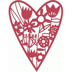 flower meadow papercut heart