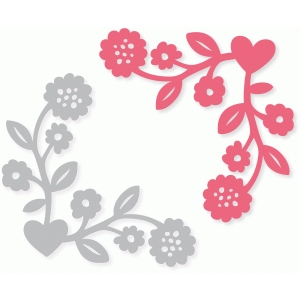 flower vine heart corner embellishment