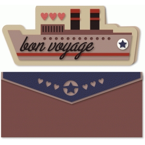 ocean liner shaped card with envelope