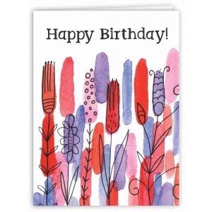 watercolor garden happy birthday card