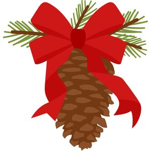 pinecone with ribbon