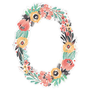painted floral border oval pink yellow