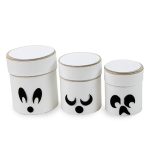 round ghost halloween trio boxes