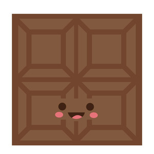 cute chocolate square character