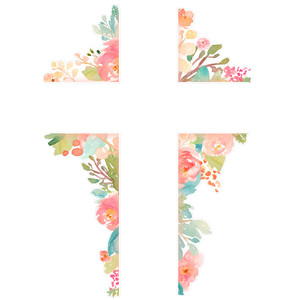 hand painted flower cross