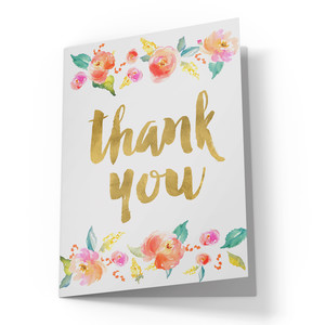 cute thank you card with flowers