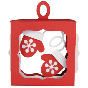 snowflake mittens hanging ornament box