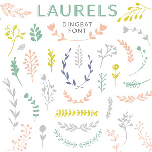 hand drawn laurel dingbat font
