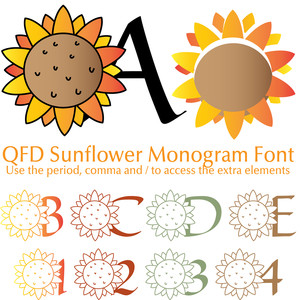 qfd sunflower monogram font