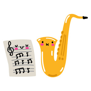 kawaii saxophone and music sheet
