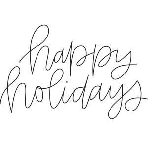 sketch handwritten happy holidays phrase