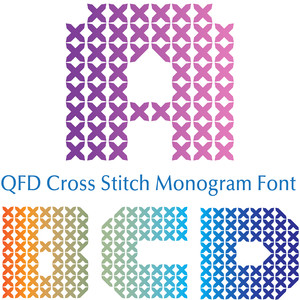 qfd cross stitch monogram font