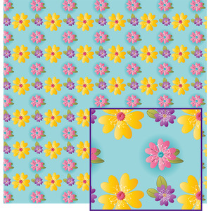 flowers on blue pattern