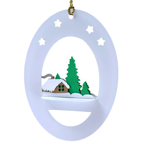 winter cabin 3d oval hanging ornament