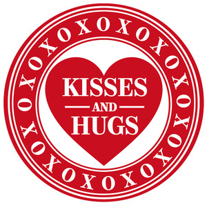 hugs kisses heart label