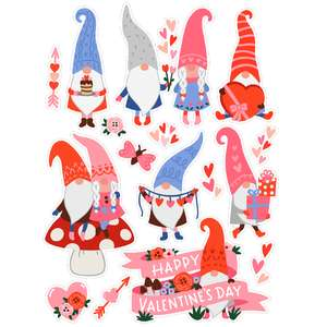 valentine's day gnome stickers