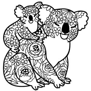 mother koala bear and baby floral mandala
