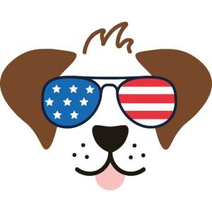 dog with american flag sunglasses