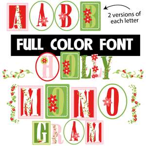 holly monogram color font