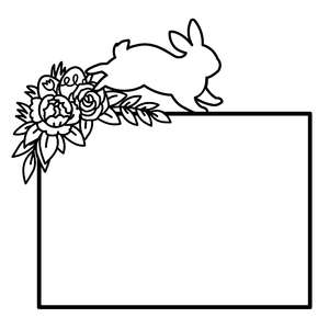 bunny with flowers frame