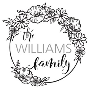 wildflowers family name wreath