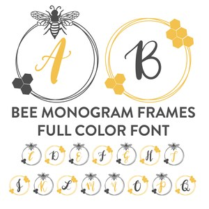 bee frame full color monogram font