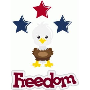 patriotic bald eagle with freedom title/phrase
